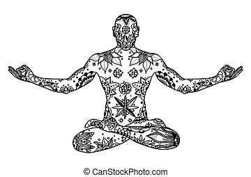 Yoga lotus pose - Hand drawn Yoga lotus pose with floral ...