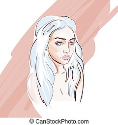 Hand-drawn young beautiful girl with makeup and unusual blue hair. Fashion illustration of a stylish look.