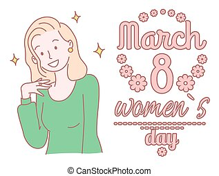 Womens day, eighth of march concept. Young hand-drawn blonde girl in green blouse inspired by the holiday, young female closeup. Stars around the head. Template for greeting card Hand drawn style