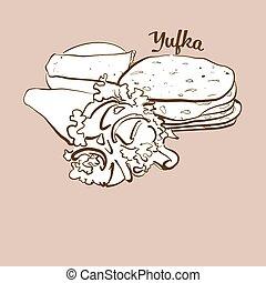 Hand-drawn Yufka bread illustration. Flatbread, usually ...