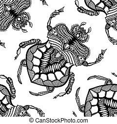 hand drawn zentangle stylized beetle