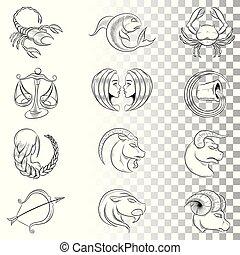 Hand Drawn Zodiac Signs Sketches Vector Illustration