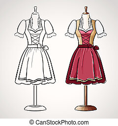 Hand drawndirndl dress on maneqiun. Silhouette and colored...