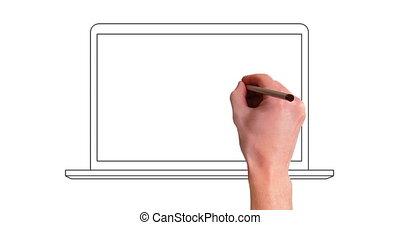 hand drawning laptop line whiteboard animation - hand...
