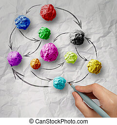 hand draws colors crumpled paper as social network structure on wrinkled paper creative concept