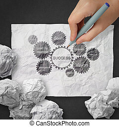 hand draws gear business success chart concept on crumpled paper background