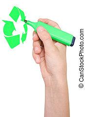 hand draws Recycling symbol