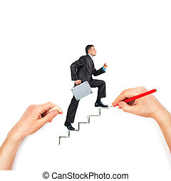 Hand draws stairs with walking businessman on white