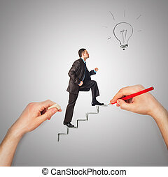 Hand draws stairs with walking businessman