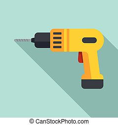 Hand drill icon, flat style