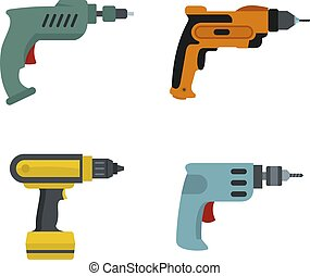 Hand drill icon set, flat style