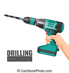 Hand drill or drilling machine fitted cutting or driving...