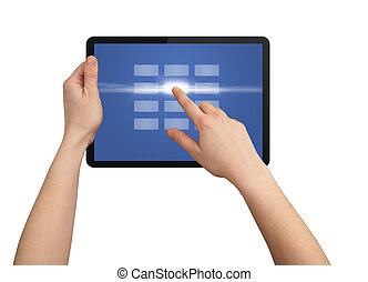 hand, dringend, aanraakscherm, knoop, in, tablet pc