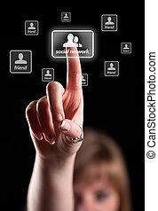 hand, dringend, netwerk, pictogram, sociaal