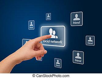 hand, dringend, sociaal, netwerk, pictogram