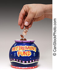 """hand dropping pennies into a jar labeled """"Retirement Fund"""""""