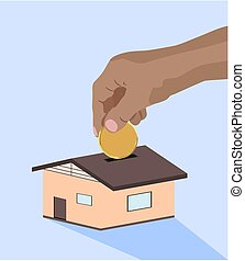Hand dropping putting golden coin in to home piggy bank clean vector illustration finance money own home concept