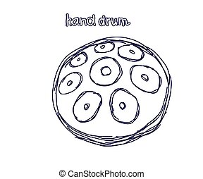 Hand drum on a white background. Sketch. Vector