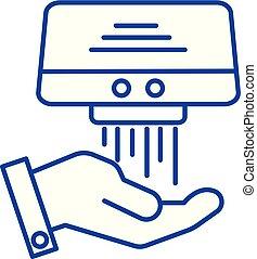 Hand dryer line icon concept. Hand dryer flat vector symbol, sign, outline illustration.