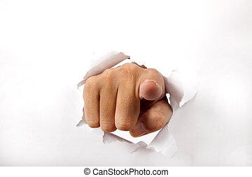 hand, durchbrechen, der, weißes, papier, mit, finger, zeigt,...