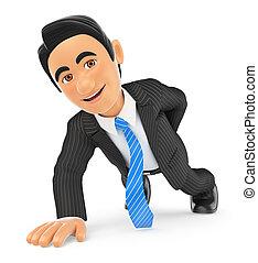 hand, duw, zakenman, een, ups, 3d