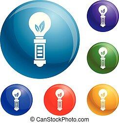 Hand eco bulb icons set vector