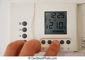 hand, einstellung, temperatur, heizungsregler, heizung