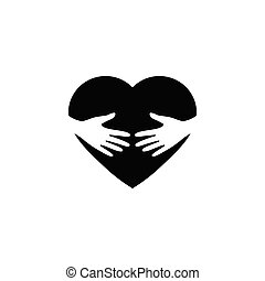 hand embrace red heart  icon vector