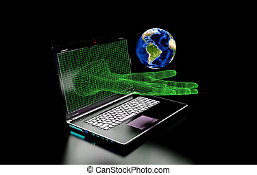 hand emerging from computer screen on a black background, We use the elements presented NASA