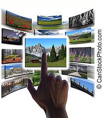 hand, en, afbeeldingen, collage, op, touchscreen