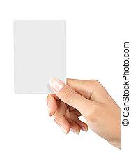 hand, en, een, kaart, vrijstaand, op wit