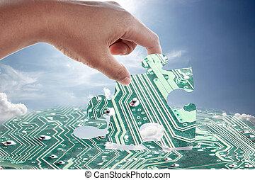 hand, en, elektronisch, jigsaw, pattern.