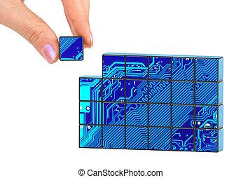 hand, en, technologie, raadsel