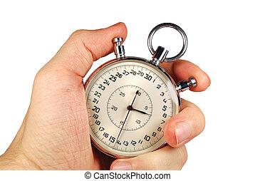 hand, en, tijdopnemer