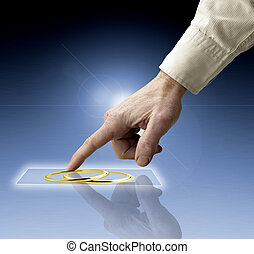 hand, erreichen, bilder, strömend, von, zukunft, schirm