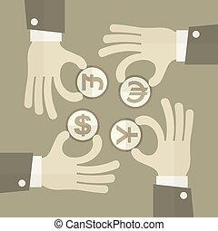 Hand exchange money signs