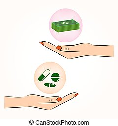 hand exchanging money and medicine vector icon