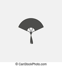 Hand fan icon in a flat design in black color. Vector illustration eps10