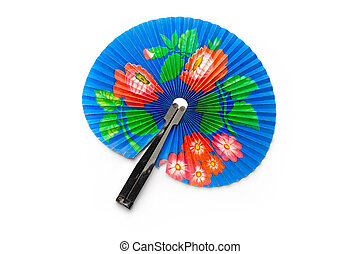 Hand fan isolated on white