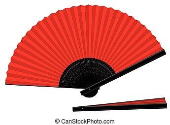 Hand Fan Open Closed Red Black - Hand fan - red an black -...