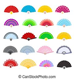 Hand fan vector traditional Japanese accessory and Chinese decoration folding handheld-fan illustration set of open Asian culture design object isolated on white background
