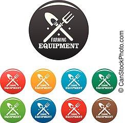 Hand farming tool icons set color