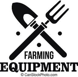 Hand farming tool logo, simple style