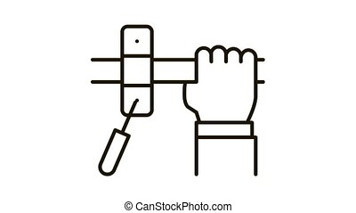 Hand Fastens Pipe Icon Animation. black Hand Fastens Pipe animated icon on white background