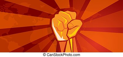 hand, faust, revolution, symbol, von, widerstand, kampf, aggressiv, retro, kommunismus, propaganda, plakat, stil, in, rotes , mit, weltkarte, hintergrund
