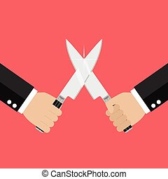 Hand fighting with knives. Business competition concept