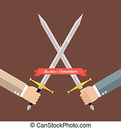 Hand fighting with swords. Business competition concept