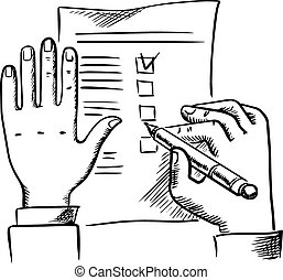 Hand filling checklist with pen