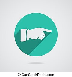 Hand finger icon. Button vector