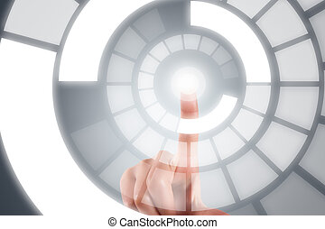 Hand Finger on Digital Screen - Young female hand finger ...